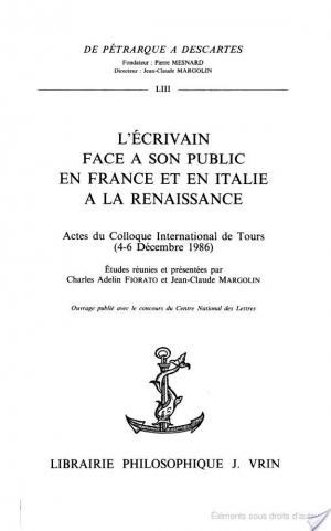 Affiche L'Ecrivain face à son public en France et en Italie à la Renaissance