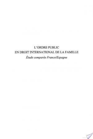 Affiche L'ordre public en droit international de la famille