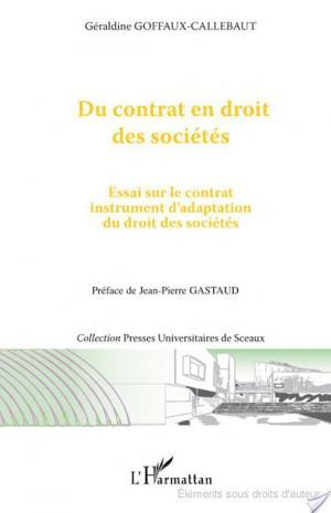 Affiche Du contrat en droit des sociétés