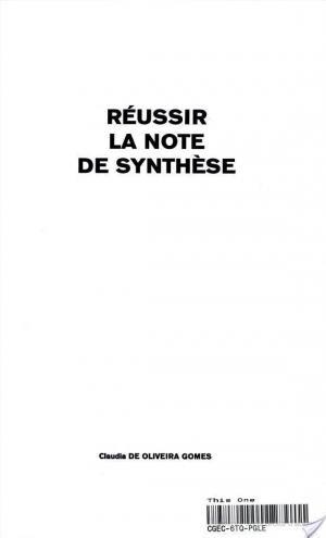 Affiche Réussir la note de synthèse