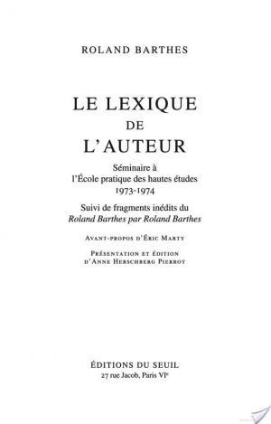 Affiche Le Lexique de l'auteur