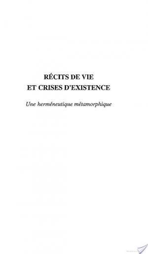 Affiche RECITS DE VIE ET CRISES D'EXISTENCE