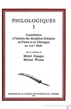 Affiche Contribution à l'histoire des disciplines littéraires en France et en Allemagne au XIXe siècle