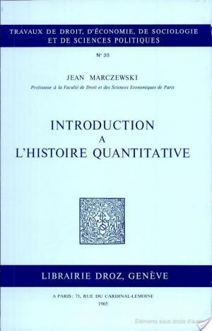 Affiche Introduction à l'histoire quantitative