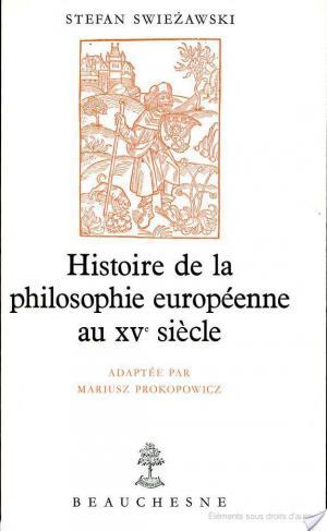 Affiche Histoire de la philosophie européenne au XVe siècle