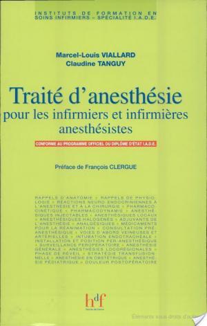 Affiche Traité d'anesthésie pour les infirmiers et infirmières anesthésistes