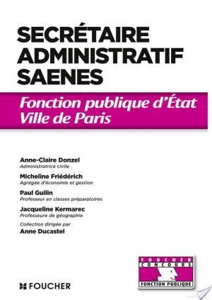 Affiche Secrétaire administratif SAENES Catégorie B. Fonction publique d'état Ville de Paris concours 2014