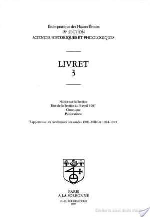 Affiche Sciences Historiques et Philologiques