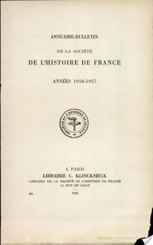 Affiche Annuire-Bulletin de la Societe de L'Histoire de France