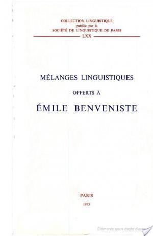 Affiche Mélanges linguistiques offerts à Émile Benveniste