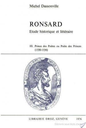 Affiche Ronsard : étude historique et littéraire