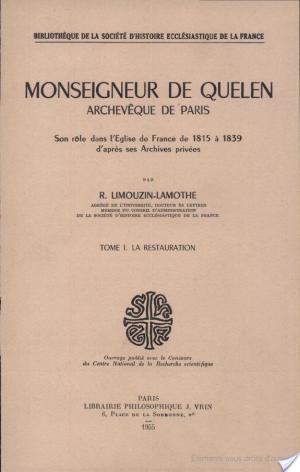 Affiche Monseigneur de Quelen archevêque de Paris