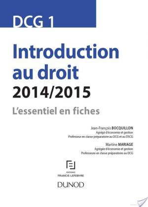 Affiche DCG 1 - Introduction au droit - 2014/2015 - 6e éd
